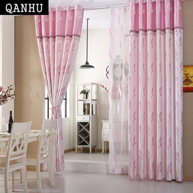 QANHU Comfortable Curtain Cotton Hit Color Bedroom Blackout Curtains ...