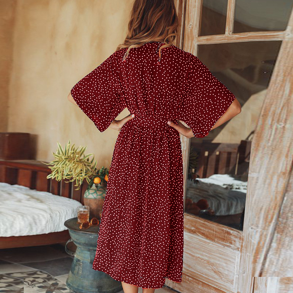 women summer casual bohemian dress Women Short Sleeve V Neck Wrap Boho Dress 5