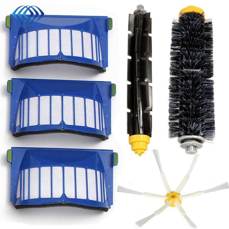 New Filter Side Brush 6 armed Pack Kit For iRobot Roomba 600 Series 600 620 630 650 660 bristle brush flexible beater brush fit for irobot roomba 500 600 700 series 550 650 660 760 770 780 790 vacuum cleaner parts