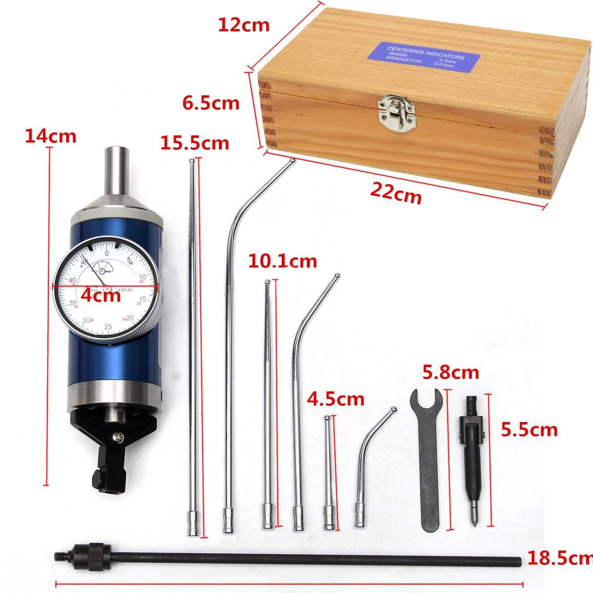 1Set Coaxial Centering Dial Test Indicator Set 0-3mm Center Finder Milling Tool 0.01mm Accuracy with Wooden Box