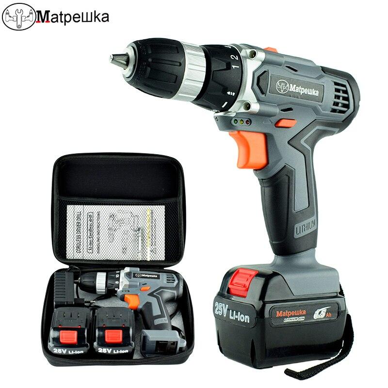 25 v ferramenta de poder broca elétrica handheld domésticos furadeira sem fio chave de fenda elétrica recarregável de lítio Baterias + 2 2 Gift + saco 1