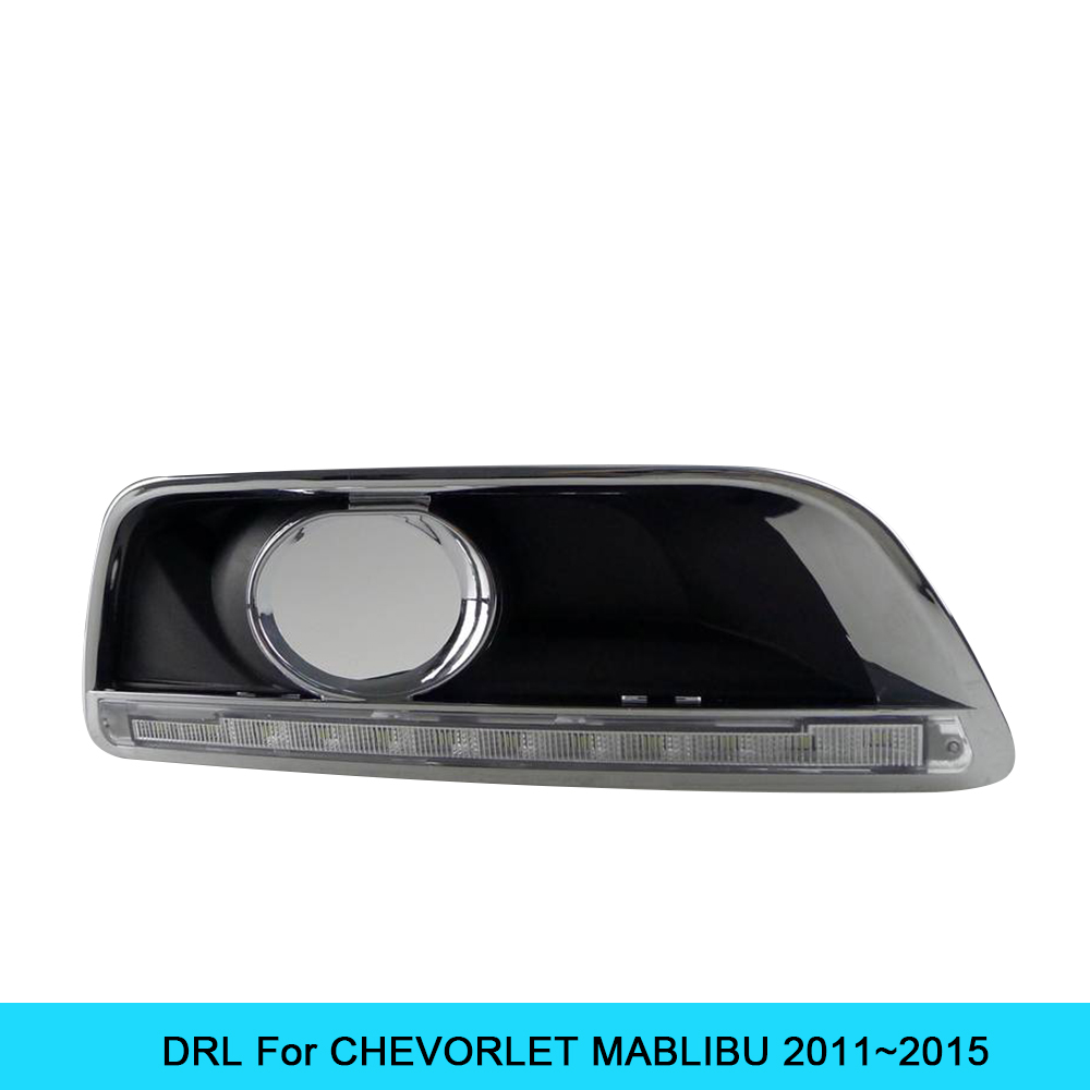 Car DRL kit for CHEVORLET Malibu 2011~2015 LED Daytime Running Light bar Super bright fog auto lamp daylight for car led drl 12v car drl kit for audi a4 l b8 2009 2012 led daytime running light bar super bright auto fog lamp daylight for car led drl light