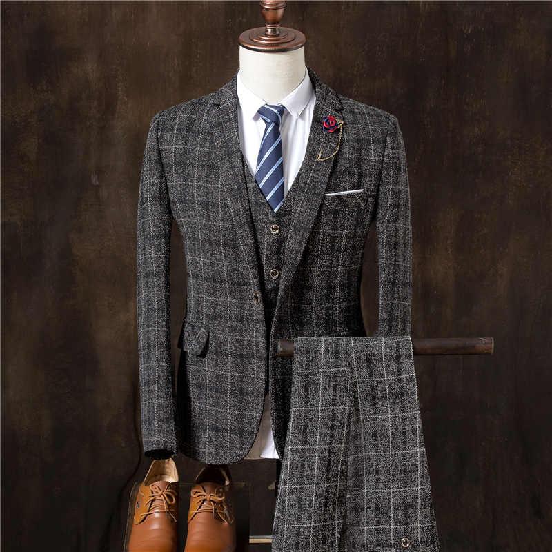 Мужской костюм из 3 предметов (пиджак + жилет + брюки), британское клетчатое платье, приталенный Блейзер, пальто, качественный смокинг, Свадебный костюм для мужчин