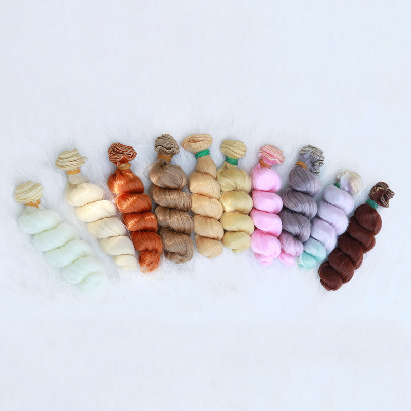 Msiredoll bjd wig Accessories 1piece 15*100CM doll hair for 1/3 1/4 1/6 1/12 Natural Color Curly doll hair diy Free shipping