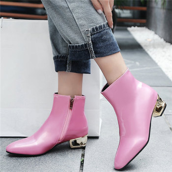 Women Patent Leather Metal Chunky Low Heel Ankle Boots Chelsea Punk Goth Wedding Party Pumps Laddy Office Shoes New Winter Shoes