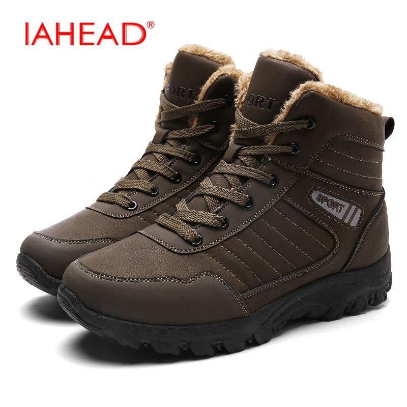 IAHEAD Men Snow Boots Warm Winter Shoes Men High Quality Tactical Boots Work Boots Wear Resisting Casual Shoes EU39-45 MU534
