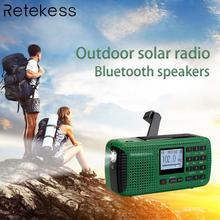 RETEKESS HR11S راديو محمول سمّاعات بلوتوث الشمسية الطوارئ استقبال FM MW SW مع مشغل MP3 مسجل رقمي