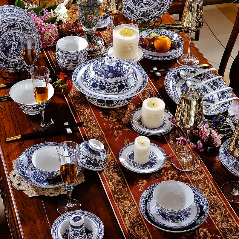 58 Pcs High End Luxury Blue And White Porcelain Tableware