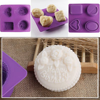 4 Hole Butterfly Flower Rose Daisy Lovely Pig Soap Mold Silicone Cake Pan Chocolate Pudding Jelly Candy Ice Cookie Biscuit Mold