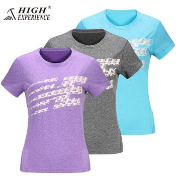 Koszulka outdoorowa dla kobiet szybkoschnąca damska koszulka do biegania sportowa koszulka damska oddychające ubrania wędkarskie odzież sportowa tanie i dobre opinie High Experience WOMEN Poliester Camping i piesze wycieczki Tees Pasuje prawda na wymiar weź swój normalny rozmiar List