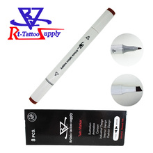 Brown 8pcs/lot Tattoo Skin Marker Sterile Surgical Cosmetic Positioning Pen Surgical Skin Marker For Eyebrow