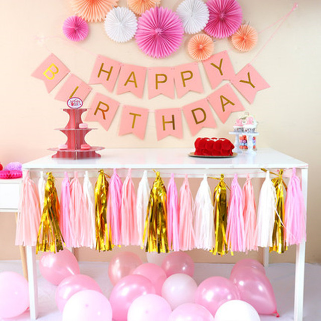 DIY Happy Birthday Banner Bunting Tassel Paper Fans Children Kids Decoration Party Hall Favors Wall Backdrops Supplies