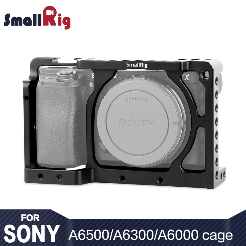 (New Version) SmallRig Gabbia Fotocamera per Sony A6300/A6000 ILCE-6000/ILCE-6300/Nex-Gabbia Con 1/4 3/8 Fori Filettati-1661