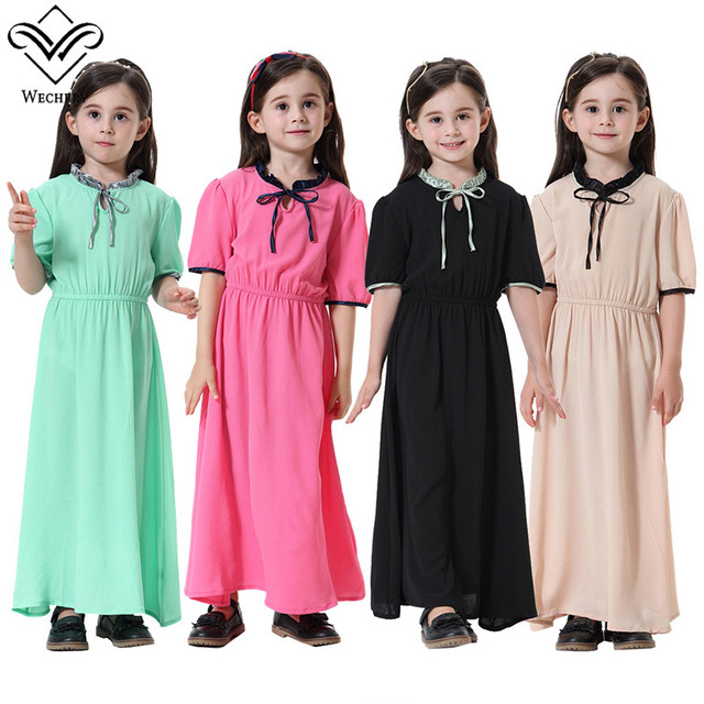 cad1d561540b Wechery Kids Robe Hijab Girls Dress 2018 New Style Muslim Pakistan Turkey  Short Sleeve Long Hijabs