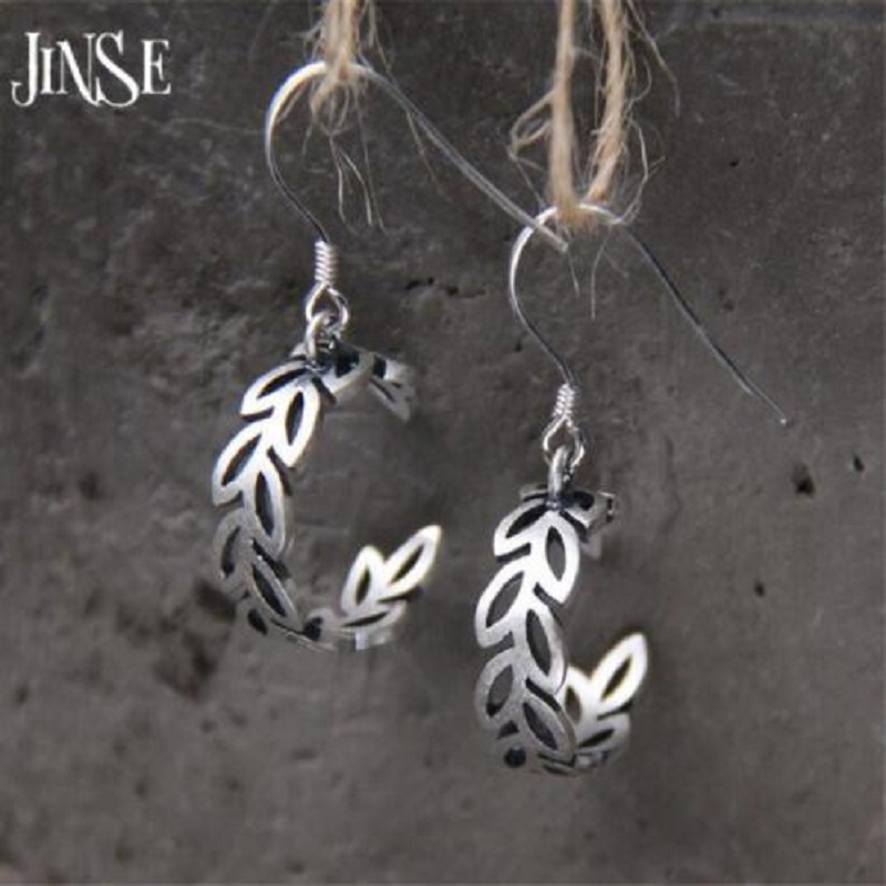 JINSE fashion S925 sterling silver olive branch earrings cute sterling silver jewelry plant olive branch earrings female in Drop Earrings from Jewelry Accessories