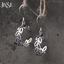 JINSE fashion S925 sterling silver olive branch earrings cute sterling silver jewelry plant olive branch earrings female цена