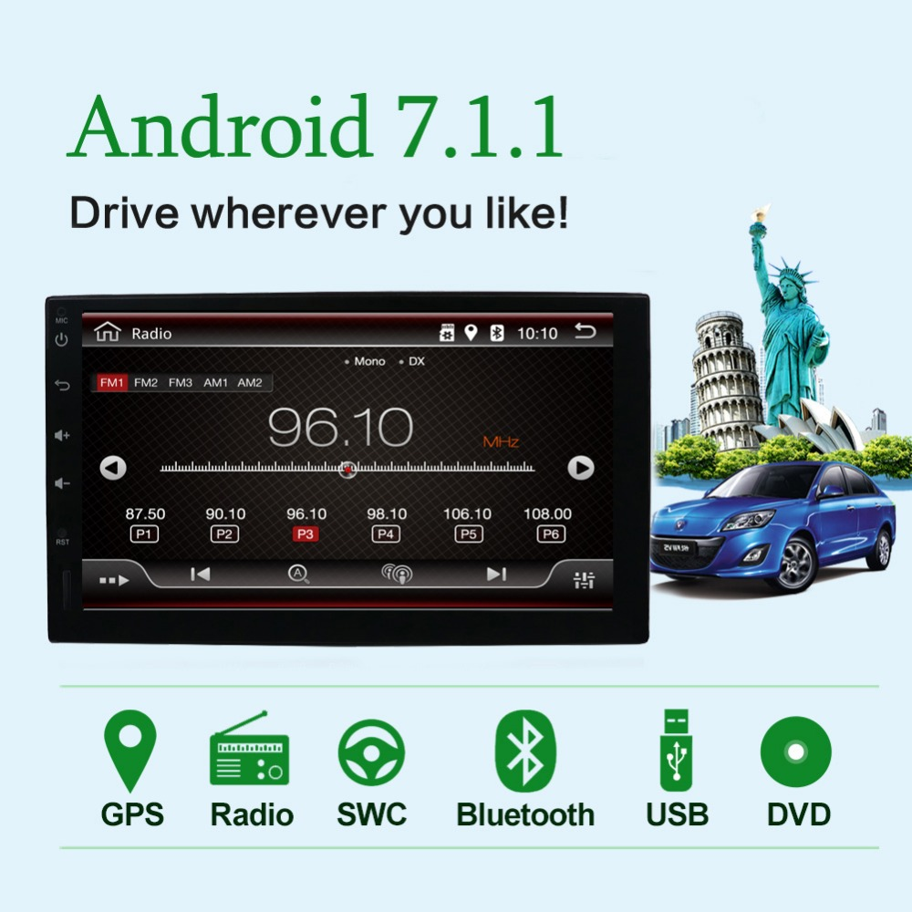 Android 7.1 Car Radio 7 inch 2din DVD 1024x600 GPS Navigation Bluetooth USB 2 din Universal Player steering wheel free camera BTAndroid 7.1 Car Radio 7 inch 2din DVD 1024x600 GPS Navigation Bluetooth USB 2 din Universal Player steering wheel free camera BT