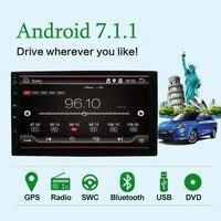 Android 8,1 автомобильный радиоприемник 7 дюймов 2din DVD 1024x600 gps навигация Bluetooth USB 2 din универсальный плеер руль Бесплатная камера BT