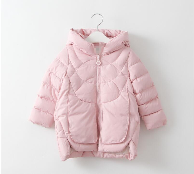 ФОТО YR60950486 2016 Winter New Baby Girl Coat Hood Solid Fashion Toddler Girl Outerwear Worm Girl Clothes