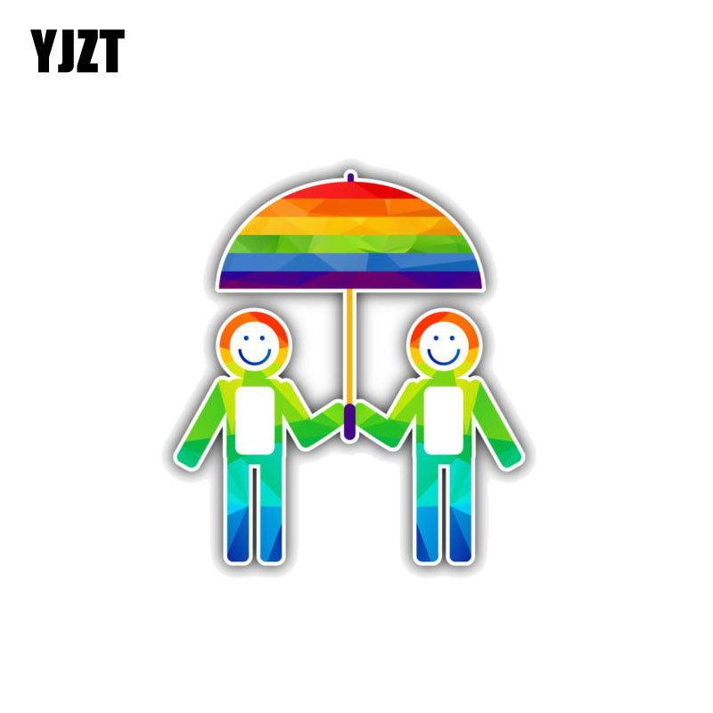 Car Stickers Yjzt 9.7cm*10.8cm Lovely Couple Umbrella Gay Rainbow Decal Car Sticker Pvc 12-0967 Volume Large