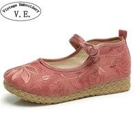 Wegogo Women Shoes Vintage Boho Cotton Linen Canvas Cloth Shoes National Soft Woven Round Toe Flat