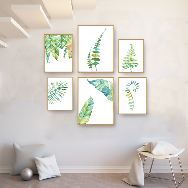 Watercolor Green Tropical Plan Leaves Art Canvas Poster Modern Minimalist Living Room Decor Painting Wall No Frame Free Shipping