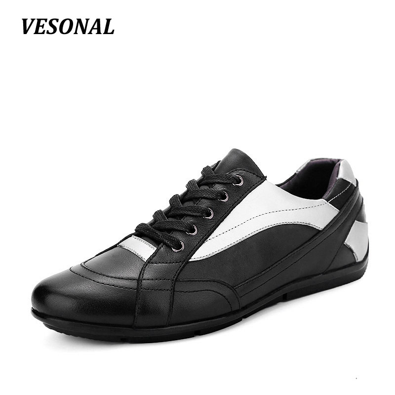 VESONAL Brand men casual shoes Luxury Genuine Leather Male Footwear Patchwork Fashion Designer Breathable Mens Shoes SD101 2017 italy new brand designer golden genuine leather casual men shoes goose all sport star breathe shoes footwear zapatillas