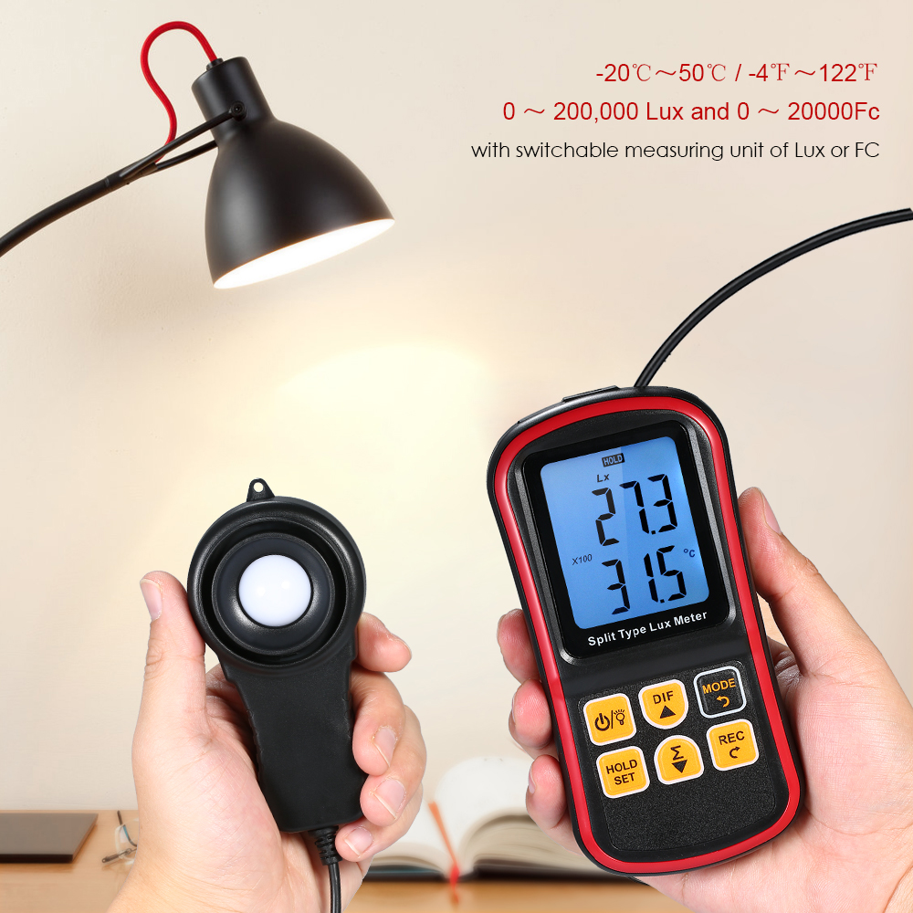 Digital Lux Meter BT Photometer Luxmeter Handheld Illuminometer Luminometer 0 200000 Lux Light Meter