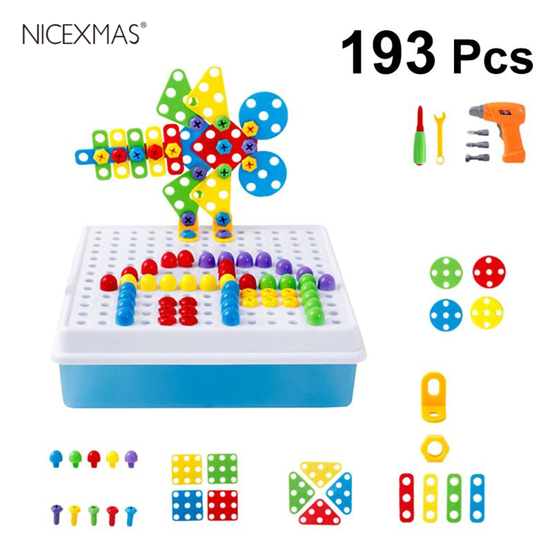 Toys & Hobbies Adroit Drill Toys Assembling 3d Puzzle Educational Electric Jigsaw Diy Screw Block 193pcs/1 Set Model For Kids Children Elegant Appearance