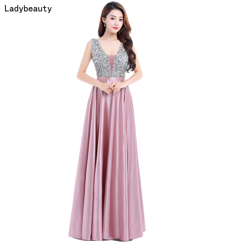Ladybeauty Nya V-Neck Pärlor Bodice Öppna Tillbaka En Line Long Evening Dress Party Elegant Vestido De Festa Snabb Shipping Prom Kjole