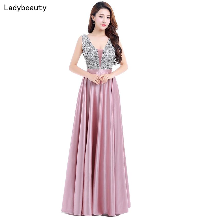 Ladybeauty nuevo cuello en V cuentas corpiño espalda abierta una línea Vestido De noche largo fiesta elegante Vestido De fiesta envío rápido del baile De graduación vestido de