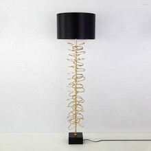 Post Modern simple creative metal floor lamp American cloth model room living bedroom study marble vertical standing