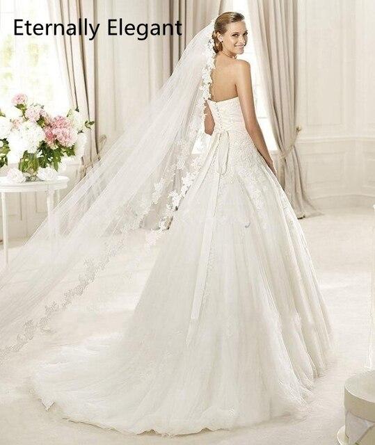 2018 Real Fotos Branco/Marfim Véu Do Casamento 3 m Longo Pente Mantilla Do Laço Nupcial Véu Acessórios Véu De Casamento noiva MD3030