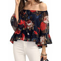 Autumn Women Blouses Flare Sleeve Chiffon Shirts Off Shoulder Ruffle Hem Sexy Blusas 2017 Fashion Casual Floral Print Tops