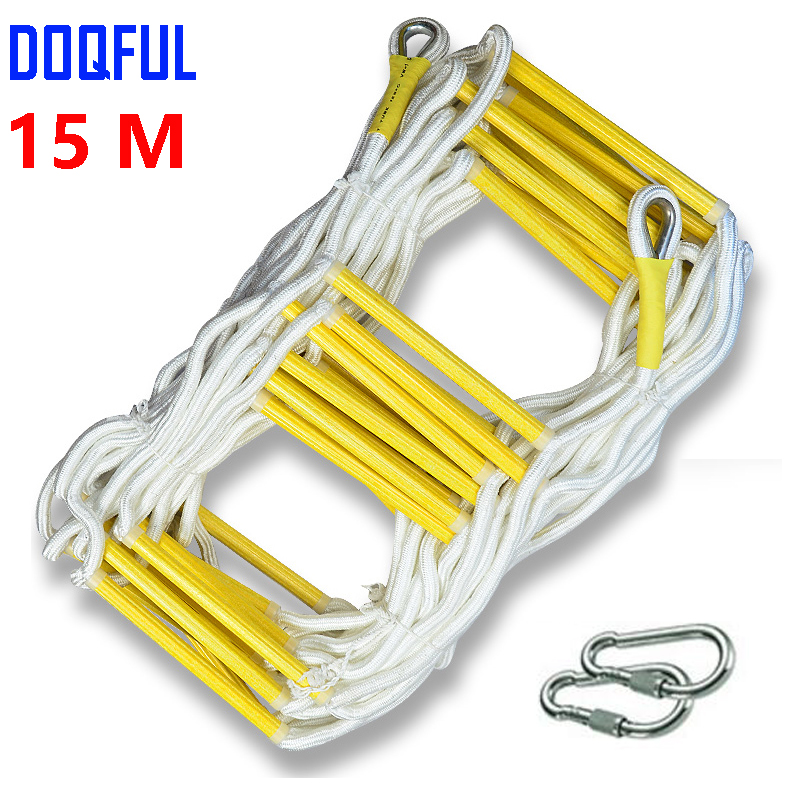 15M Rescue Rope Ladder 50FT Escape Ladder Emergency Work Safety Response Fire Rescue Rock Climbing Escape Tree