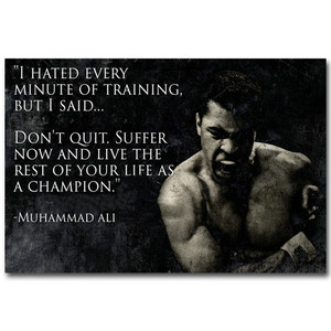 Poster Muhammad Ali Motivational Quote Wall Art Canvas Painting Nordic Inspirational Sport Picture For Living Room Decoration(China)
