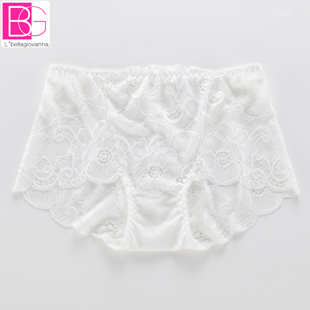 Full Lace Bamboo Cotton Women Mid-rise Panties