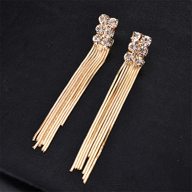 HOCOLE Gold Color Chain Tassel Drop Dangle Long Earrings For Women Big Crystal B