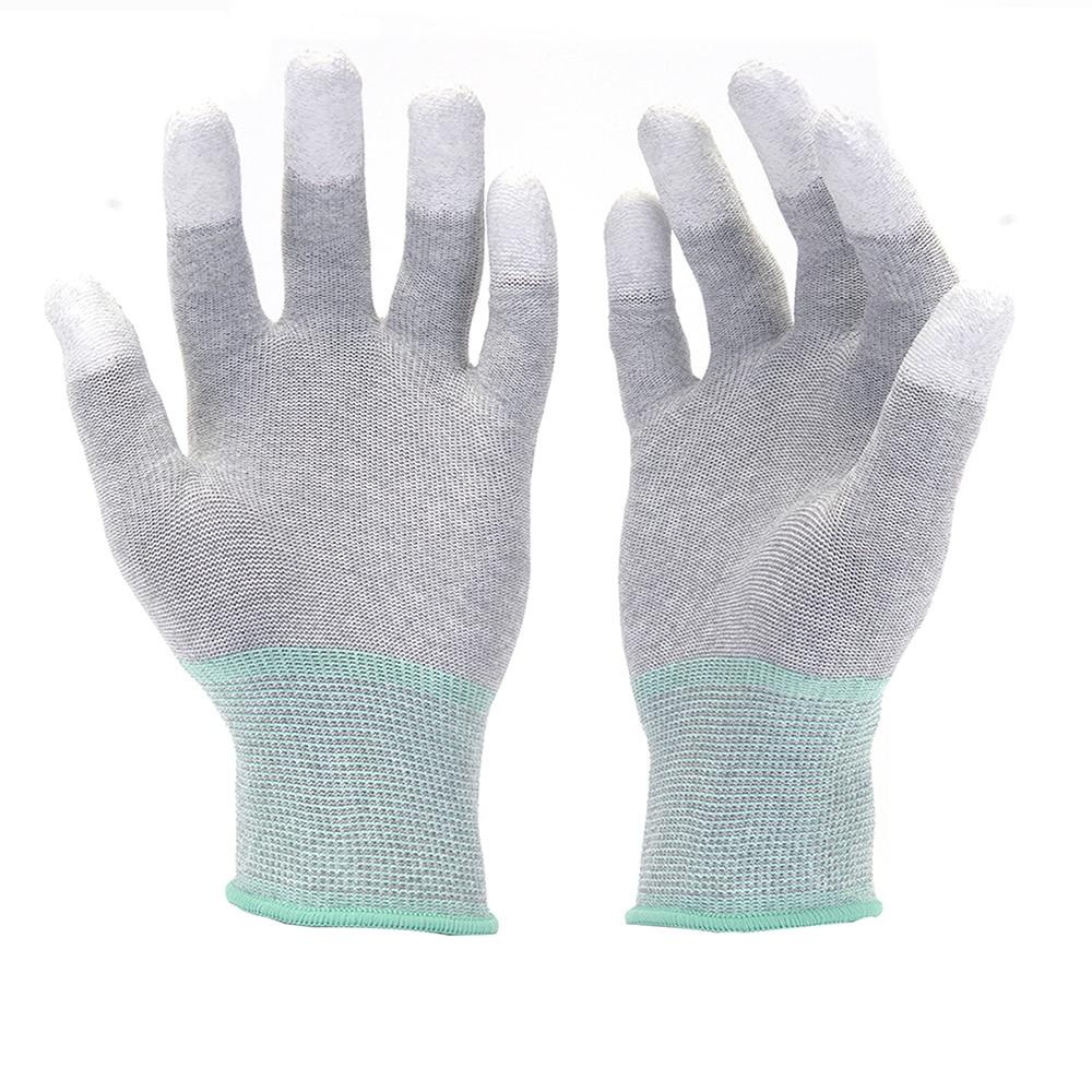 Hanvo 13 Gauge Carbon Liner With PUFinger Tip Coated Protective Safety Work Gloves Mechanic Working Gloves
