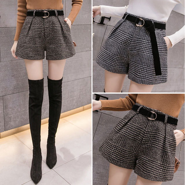 2019 New Autumn Winter Wool Shorts Women Korean High Waist Plaid Wide Leg Shorts Femme Casual Loose Boots Shorts 4