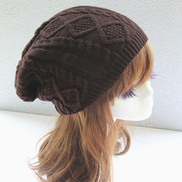dabb362d869 Cheap 2018 Women thick Caps Twist Pattern Women Knitted Sweater Hats pom  poms winter hat cotton beanies cap female-in Skullies   Beanies from  Apparel ...