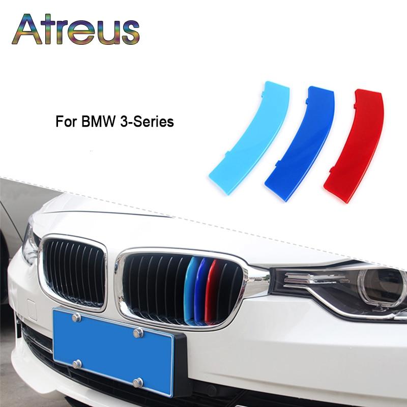 Atreus 3pcs 3D Car Front Grille Trim Sport Strips Cover Stickers For BMW E46 E90 F30 F34 E92 E93 3 Series GT M Power Accessories