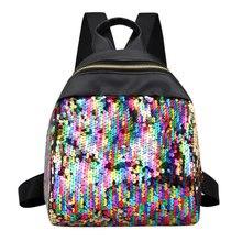 Women Sequins Backpack BlingBling School Bags for Teenage Girls Ruckack Mochila Small Leisure Travel Bag Mini Backpack Backpacks