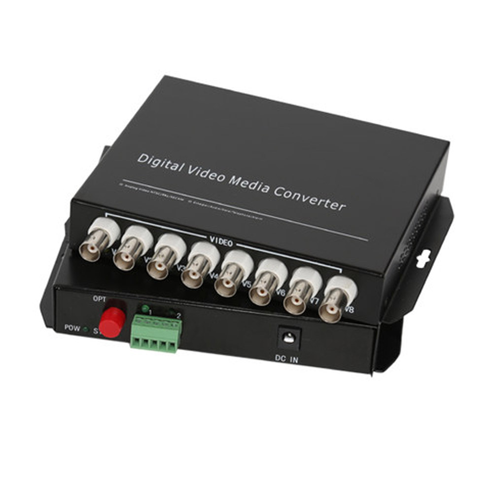 8 CH Video Fiber Optical Media Converters -8 BNC Transmitter Receiver RS485 Data Single mode 20Km For CCTV Surveillance system