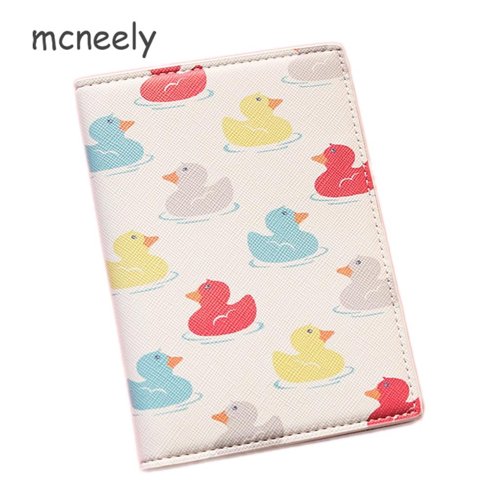 Mcneely Coloured toy duck Passport Cover for Women Travel Passport Case Leather Cute Passport Wallet Purse Girl Passport Holder