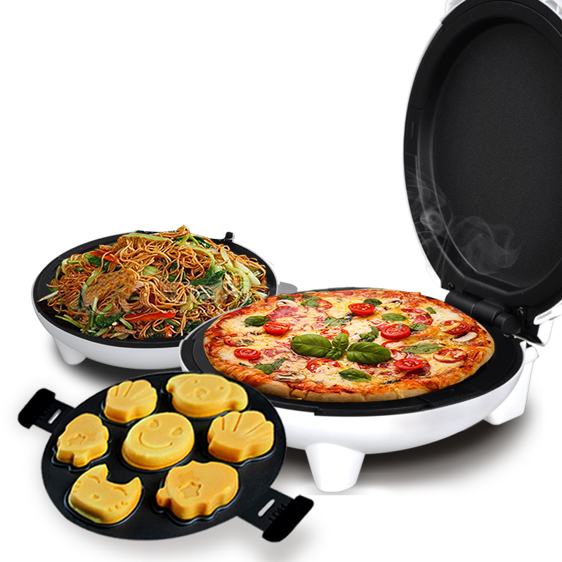 Household Multi Cake Maker Machine Mini Electric Baking Pan Flapjack Double-sided Heating Machine Pizza Waffle Pancake Machine jiqi 1300w household electric skillet multi functionbaking double pan heating machine pancake makers hover