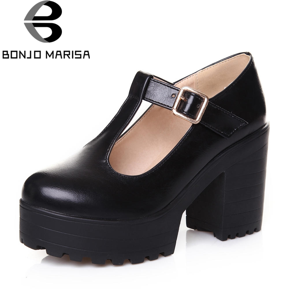 BONJOMARISA New T-Strap Buckle Strap Solid Mary Janes Women Platform Shoes For Women Casual Autumn Pumps Large Size 34-46 graceful beading and t strap design pumps for women