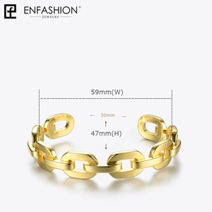 Image 5 - Enfashion Pure Form Medium Link Chain Cuff Bracelets & Bangles For Women Gold Color Fashion Jewelry Jewellery Pulseiras BF182033