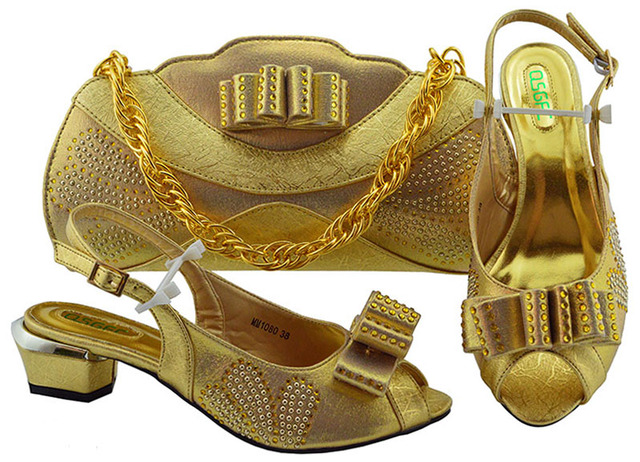 Italian Matching Shoes and Bag Set Gold color African Wedding Shoe and Bag set Italy Shoe and Handbag Summer Set Women Mid heel