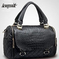 Aequeen Fashion Women Leather Handbags Female Messenger Shoulder Bag Plaid Crocodile Pattern Cowhide Bags